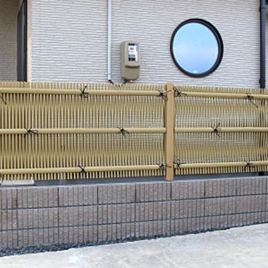 フェンス プラ竹の垣仕上げ