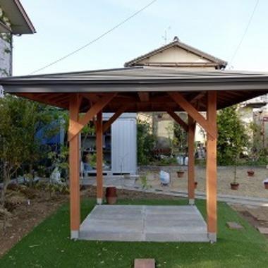 お庭に東屋の新築工事