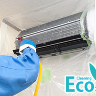エアコン壁掛けタイプ クリーニングエコ洗浄 作業中