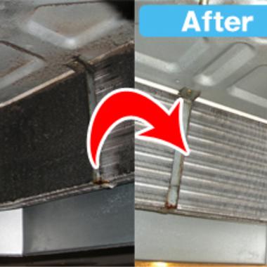 埋め込み式エアコン 冷却フィン洗浄前洗浄後比較