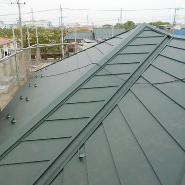 屋根 上葺き工事途中 4
