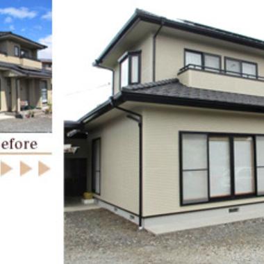 外壁塗装 無機質塗料での施工 前と後