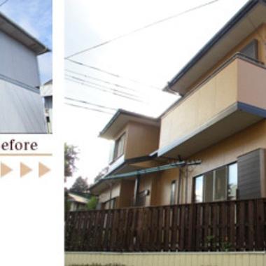 外壁塗装 無機質塗料の長持ち太鼓判仕様 前と後