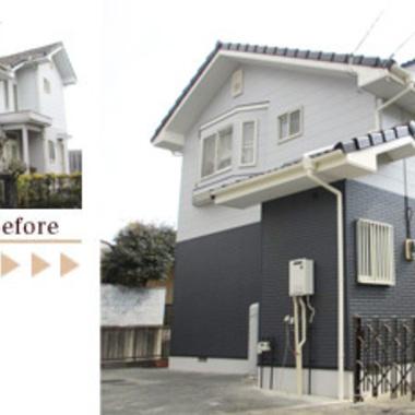 屋根・外壁塗装 フツ素樹脂の塗装仕上げ 前と後