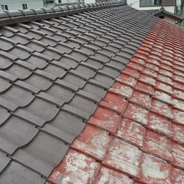 屋根塗装 作業途中