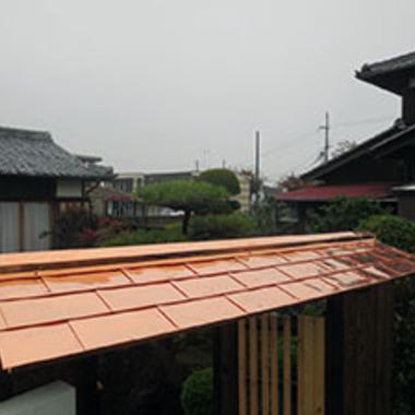 玄関屋根工事後 カッパーソフテンステンレス