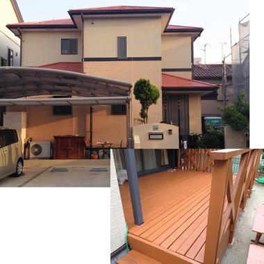 塗装後の住宅外観とウッドデッキ