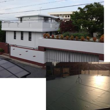 外壁塗装・防水工事後の住宅外観と屋上