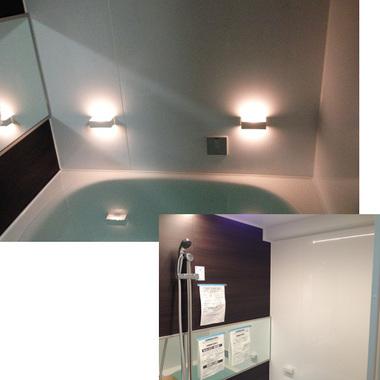 施工後の浴槽と浴室壁