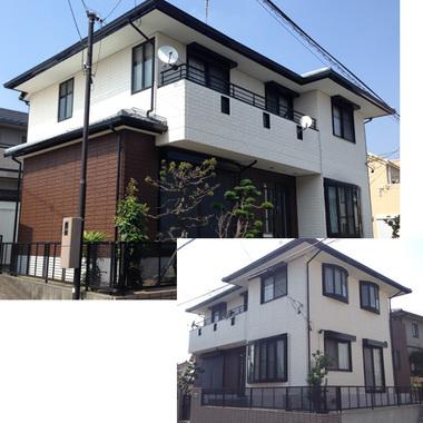 外壁塗装後の住宅外観 2方向