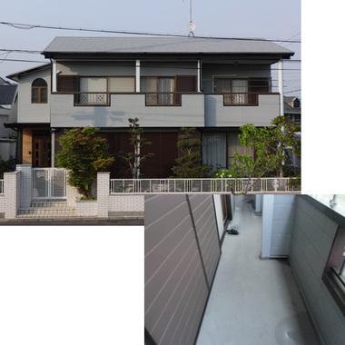 外壁塗装・防水工事後の住宅外観とベランダ床面