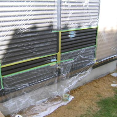 雨戸へこみ補修作業中1