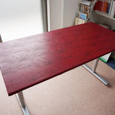 テーブル レザーシート張り作業完了