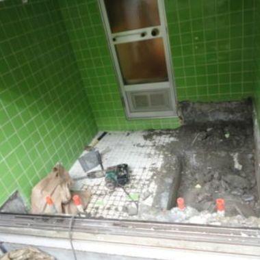 バスルームのリフォーム施工途中